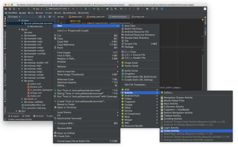 Đường dẫn giúp tạo mới một Activity từ Android Studio
