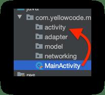Kéo file MainActivity thả vào thư mục activity