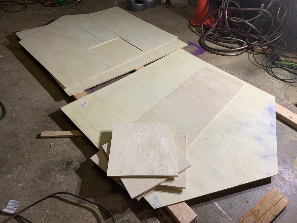 Several pieces of plywood