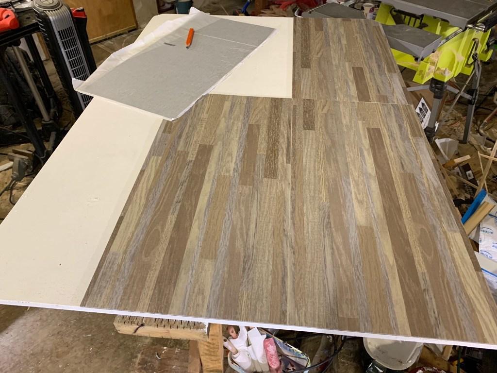Stick-on vinyl tiles