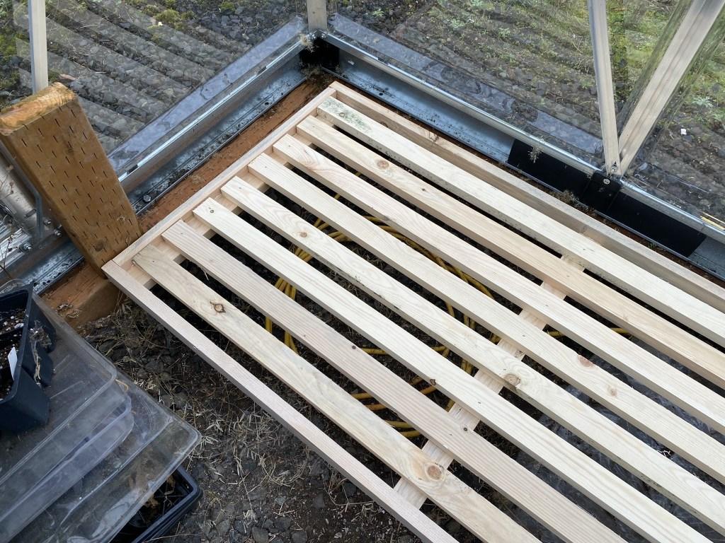 Shelf in greenhouse