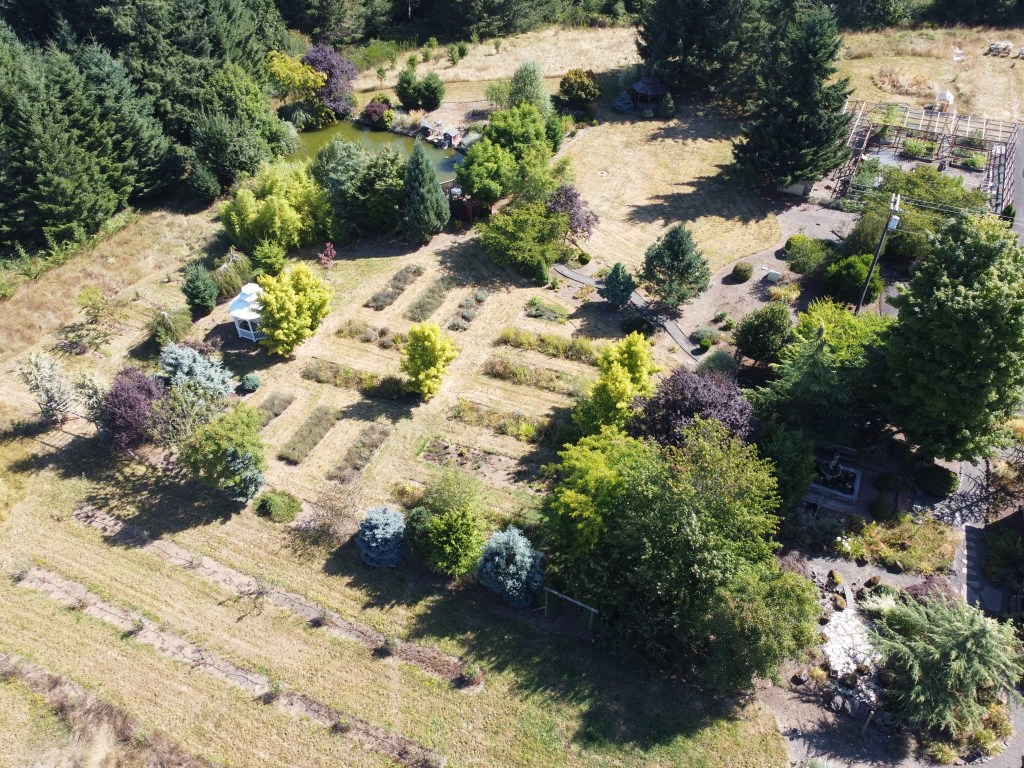 Aerial of flowerbeds, pond, etc