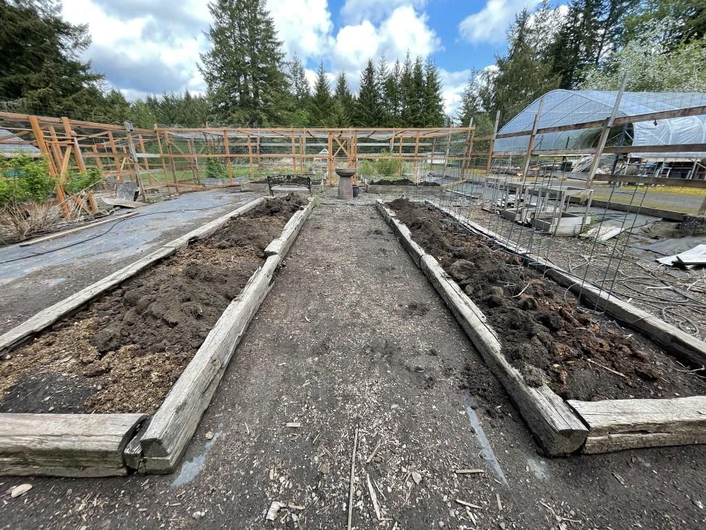 Veggie garden with compost