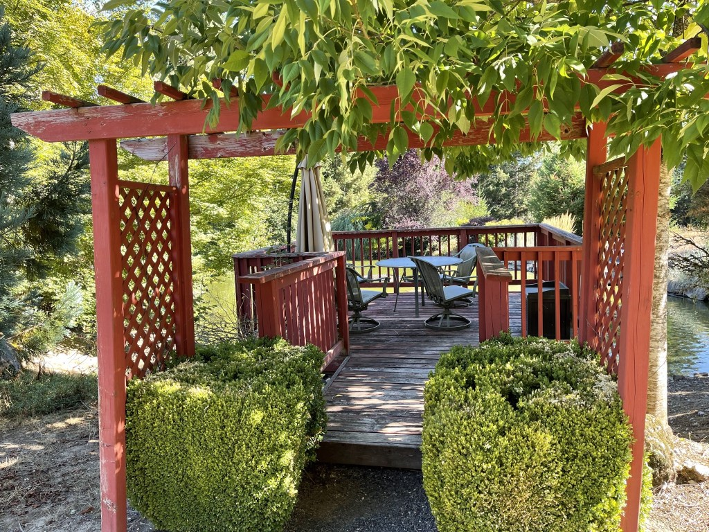 Arbor and pond deck