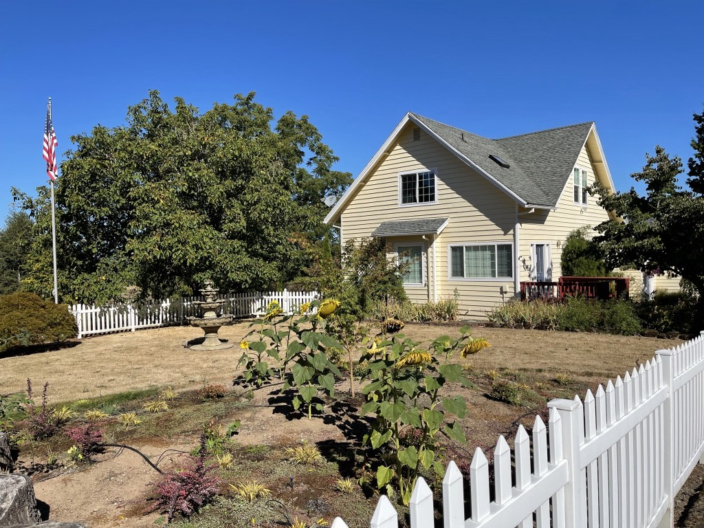 Front lawn and house
