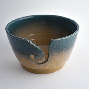 Teal & Brown Knitting Bowl