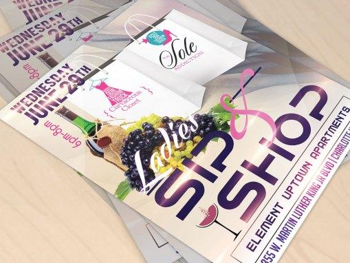 Sip & Shop Event Promotion Flyer Design