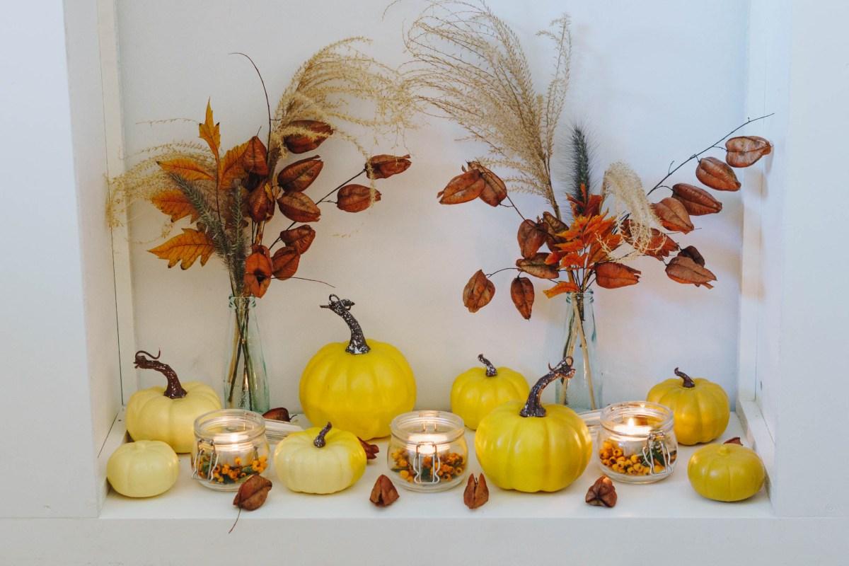 Pastell Herbst Dekoration bunte Kürbisse für Tisch oder Kamin ...