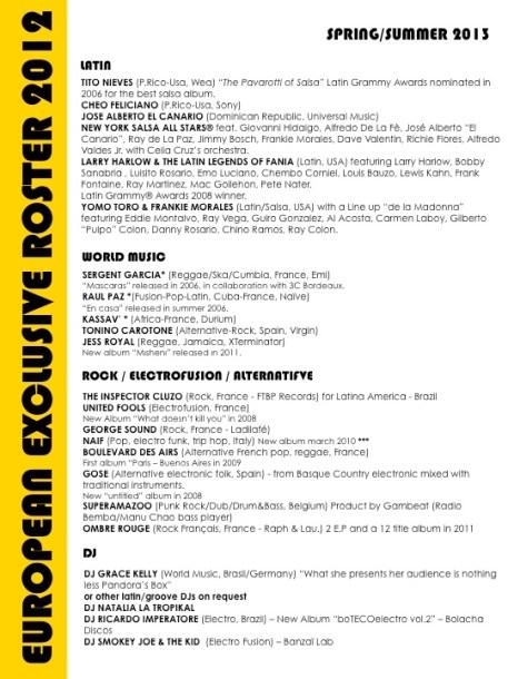 roster womex artist´x B | 2012