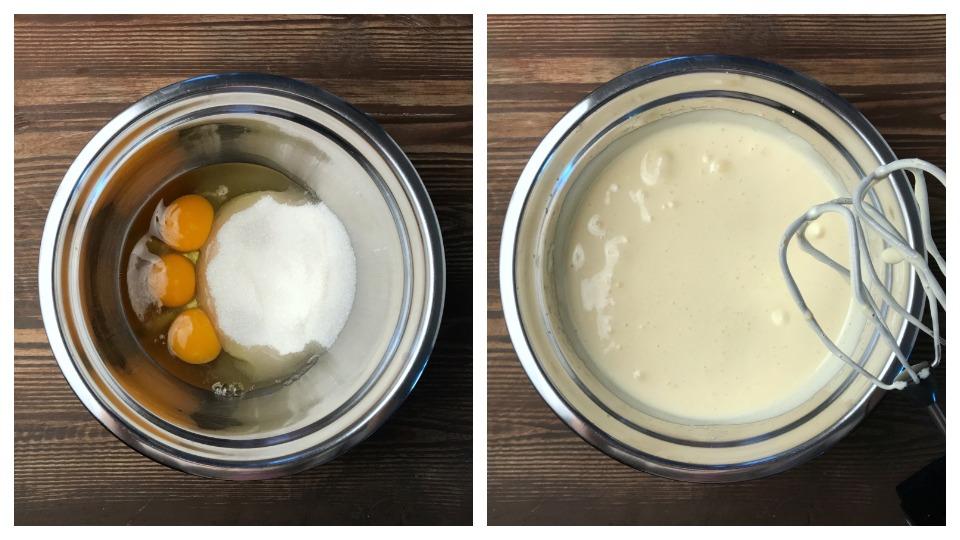 смешать яйца и сахар