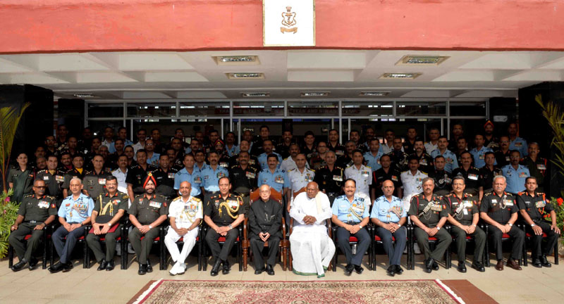 The President, Mr. Pranab Mukherjee at the convocation of Defence Services Staffs College (DSSC), at Wellington, in Tamil Nadu on April 15, 2016. The Governor of Tamil Nadu, Mr. Konijeti Rosaiah is also seen.