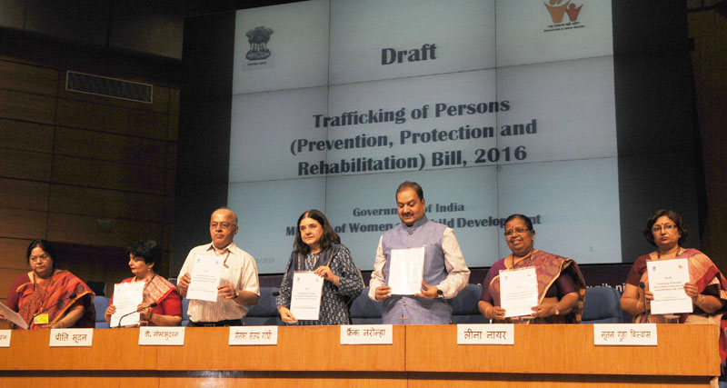 The Union Minister for Women and Child Development, Mrs. Maneka Sanjay Gandhi releasing the Draft Trafficking of Persons (Prevention, Protection and Rehabilitation) Bill, 2016, in New Delhi on May 30, 2016. The Secretary, Ministry of Women and Child Development, Mr. V. Somasundaran, the Director General (M&C), Press Information Bureau, Mr. A.P. Frank Noronha and other dignitaries are also seen.