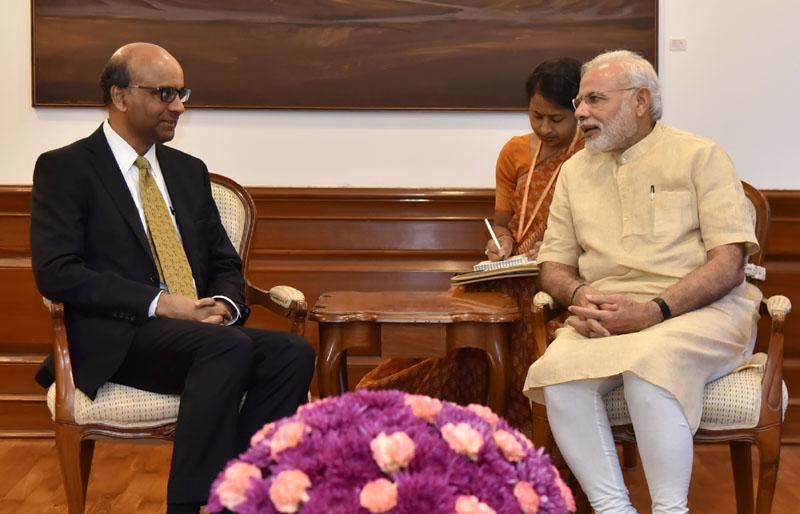 The Deputy Prime Minister of Singapore, Mr. Tharman Shanmugaratnam calls on the Prime Minister, Mr. Narendra Modi, in New Delhi on August 26, 2016.