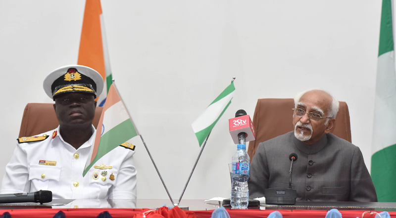 The Vice President, Mr. M. Hamid Ansari at the National Defence College, in Abuja, Nigeria on September 28, 2016. The Commandant of the National Defence Academy, Nigeria, Rear Admiral Samuel Alade is also seen.