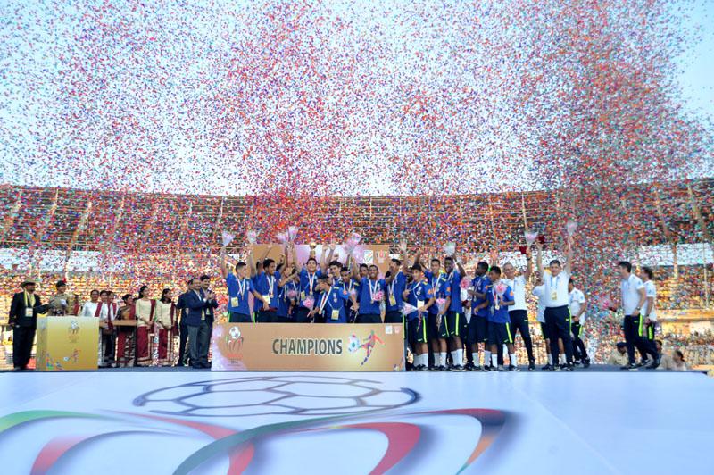 Brazil won the 1st BRICS U-17 Football Tournament 2016, in Goa on October 15, 2016.