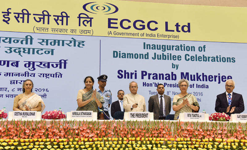 The President, Mr. Pranab Mukherjee at the inauguration of the ECGC Diamond Jubilee celebrations, in New Delhi on November 08, 2016. The Minister of State for Commerce & Industry (Independent Charge), Mr. Nirmala Sitharaman, the Commerce Secretary, Ms. Rita A. Teaotia and other dignitaries are also seen.