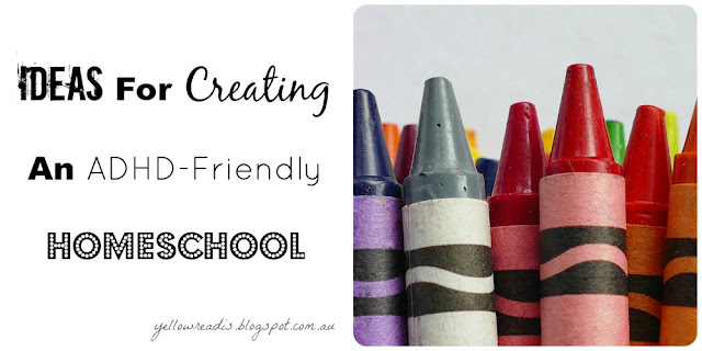 Ideas for Creating an ADHD Friendly Homeschool, yellowreadis.com Image: A stack of crayons