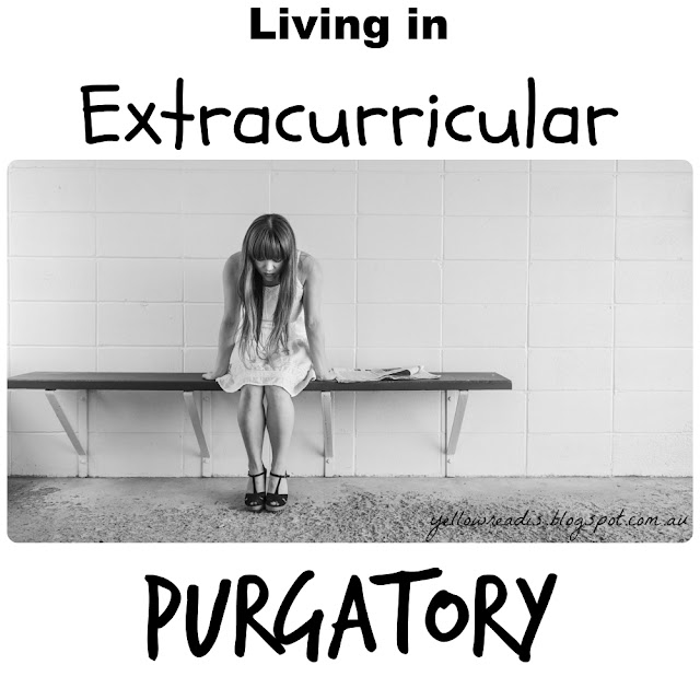 """Living in Extracurricular Purgatory, yellowreadis.com. Picture via Pixabay. Desc. Image """"Sad women on bench in tiled room."""" Text """"Living in Extracurricular Purgatory"""""""