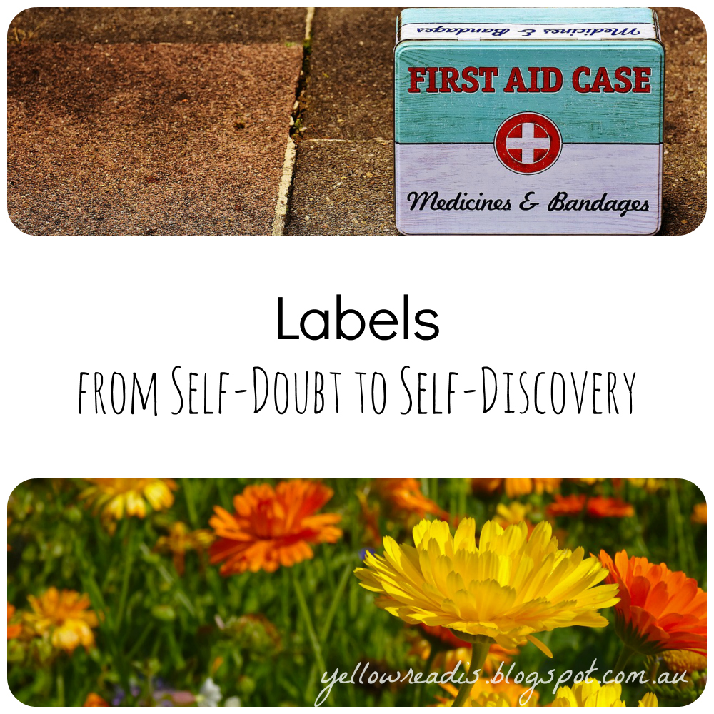 Labels, From Self-Doubt to Self Discovery, yellowreadis.com. Images: First Aid Case in Metal on brown concrete; yellow and orange flowers