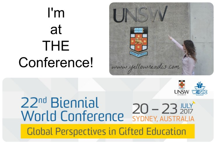 """Image of woman pointing to UNSW University sign and banner. Word """"I'm at the Conference """""""