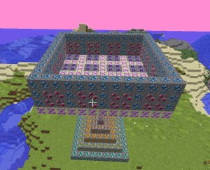 Minecraft walls in square shape on island
