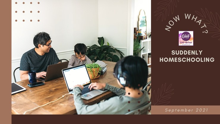 """Suddenly Homeschooling - Ten Years On, yellowreadis.com. """"Now What? Suddenly Homeschooling, GHF Writer"""". Image: Dad and two kids at a table on laptops with plants and bookcase in background"""