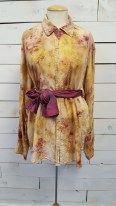 Naturally dyed silk shirt featuring a Yellow Rose necklace and silk scarf