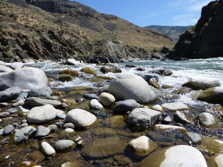 Boulders in rapids