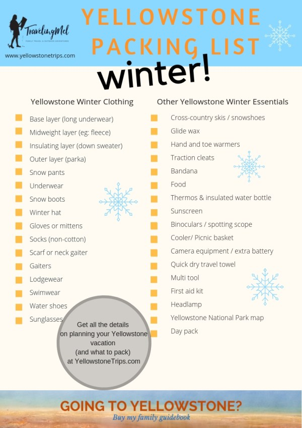 What should you pack for a winter trip to Yellowstone National Park? Our Yellowstone winter packing list makes it easy to check off the essentials for a warm and safe trip.