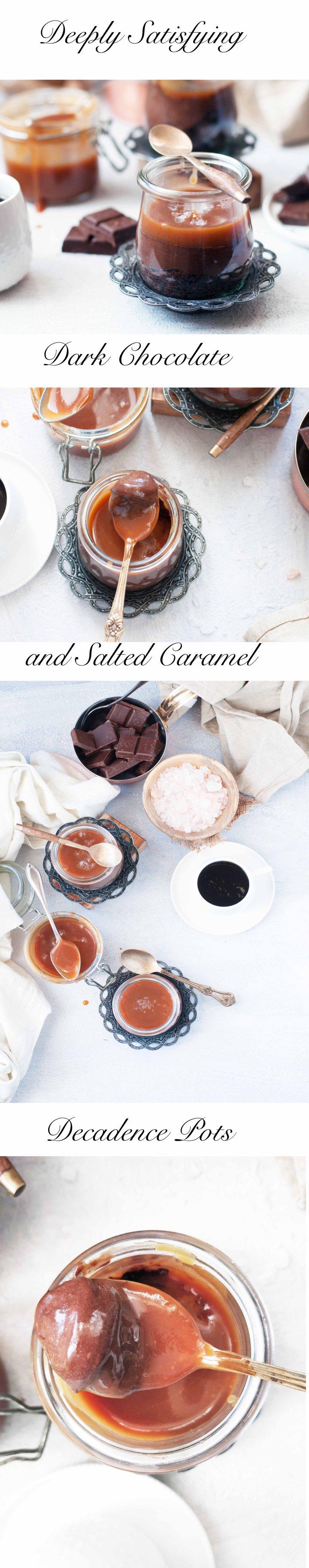 Dark Chocolate Cake,Chocolate ganache and Caramel Pots