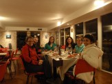 The fieldwork team tucking into lobster dinner to celebrate the last day of fieldwork