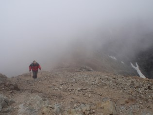 Unfortunately, the cloud came in as we neared the summit, which was biting cold at that height