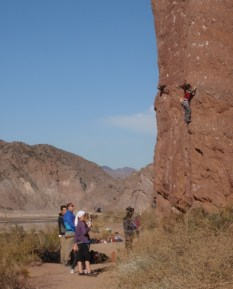 The most climbers we saw in one place in Argentina - but then it is a winter crag, and it was winter!