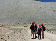 A wall covered in preserved dinosaur prints has been raised up by the geological movements responsible for the raising of the Andes mountains