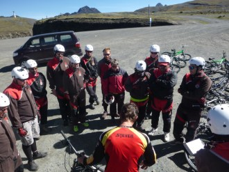 Early morning briefing at the top of the pass