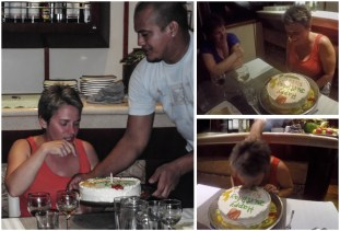 And I wasn't allowed to escape another boat tradition - pushing the unsuspecting birthday girl's head into her cake!