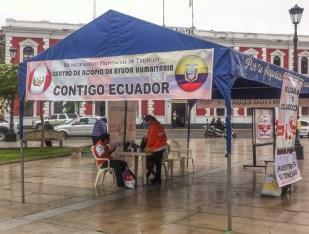 """""""Contigo Ecuador"""" - """"with you Ecuador"""": They were there to raise money following the big earthquake that had recently hit the coast of northern Ecuador"""