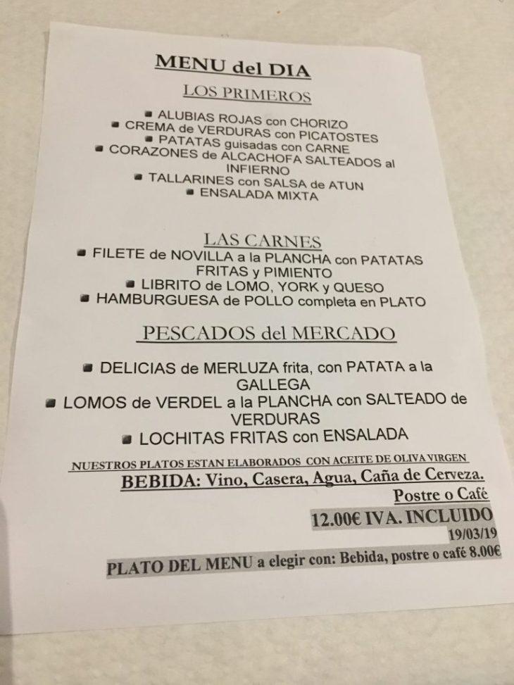Menú casero del Restaurante La Pirula de Santander