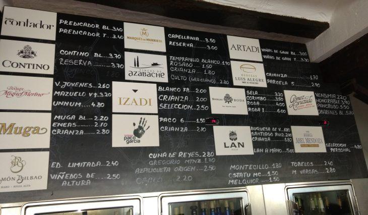 Pizarra de vinos del Restaurante Tastavin