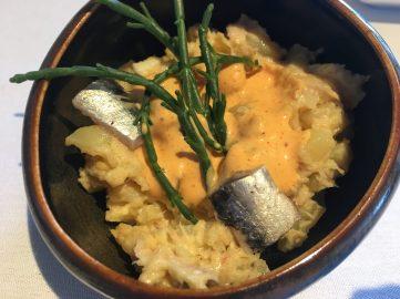 Risotto de patata con anchoa