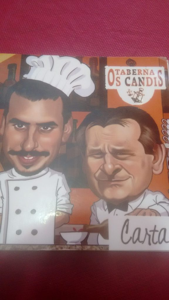 Caricatura del cocinero y el camarero