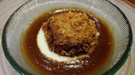 Steack de rabo de toro y texturas de patata