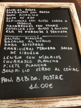 Menú del Restaurante Moreno