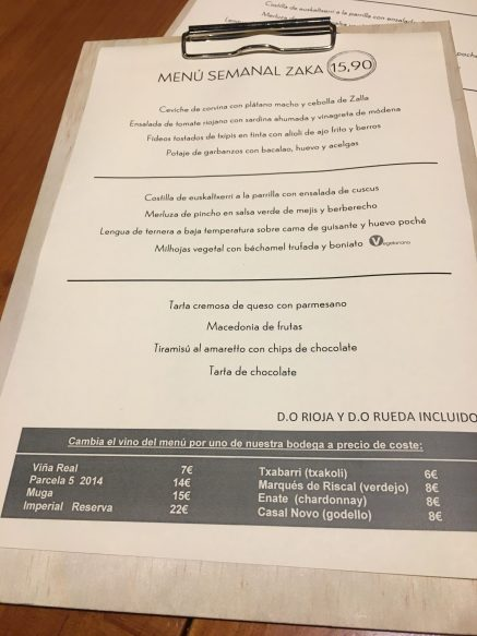 Menú del día del Zaka Restaurante de Bilbao