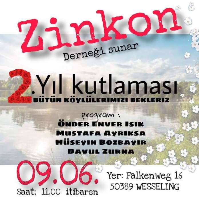 Zinkon Köyü Derneği 2. Yıl Kutlaması Gerçekleştiriyor
