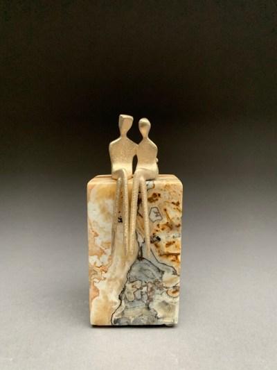brushed bronze miniature couple sculpture