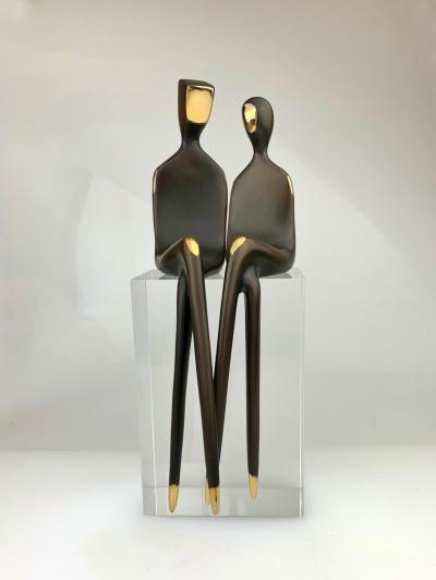 """front view The Two of Us 10"""" Bronze sculpture couple"""