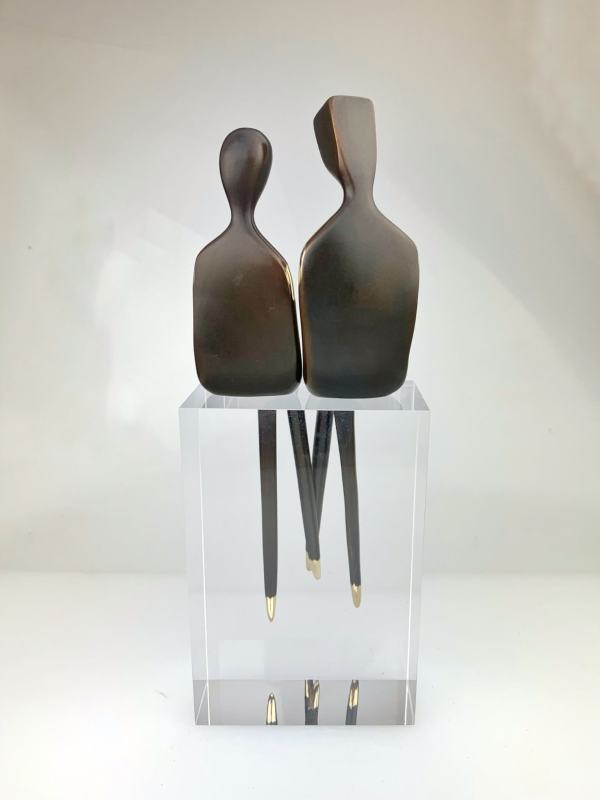 """backside The Two of Us 10"""" Bronze sculpture couple"""