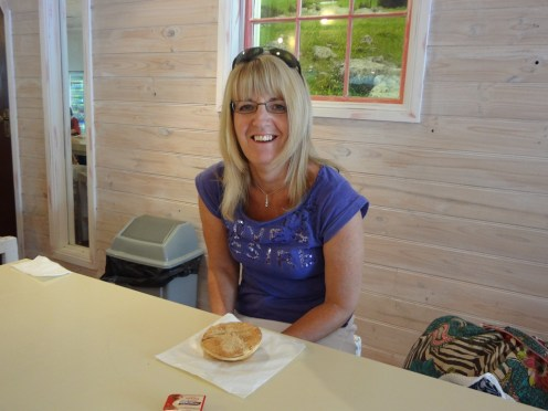 Gail with her pie at Braidwood Bakery