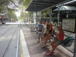 Waiting for a tram to St. Kilda